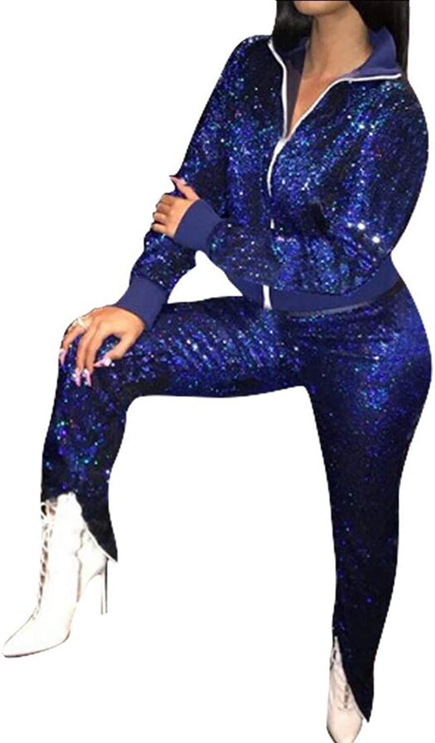 Women Sparkly Sequins Long Sleeve Tracksuits Jackets Long Pants 2 Piece