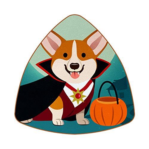 Posavasos triangulares para bebidas Halloween Corgi perro en disfraz de vampiro taza almohadilla de cuero para proteger muebles, resistente al calor, decoración de bar de cocina, juego de 6