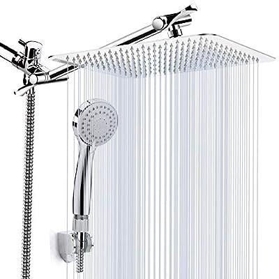 "Kaqinu Shower Head, 8'' High Pressure Rainfall Shower Head/Handheld Showerhead Combo with 11"" Extension Arm, Anti-leak Shower Head with Holder/Hose, Flow Regulator, Chrome"