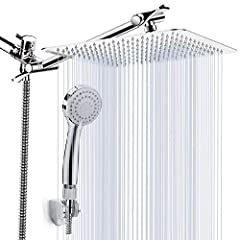 🌼Shower head Combo: 8'' Large Square Rainfall Showerhead, Chrome Face Handheld Shower, 5ft Stainless Steel Hose, Water Flow Regulator, 3 Way Diverter, Strong Suction Cup Shower Bracket, Teflon Tape, Washer 🌼Large Square Rainfall Shower Head: 8'' Larg...
