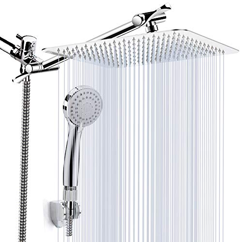 "Kaqinu Shower Head , 8'' High Pressure Rainfall Shower Head / Handheld Showerhead Combo with 11"" Extension Arm, Anti-leak Shower Head with Holder/ Hose, Flow Regulator, Chrome"