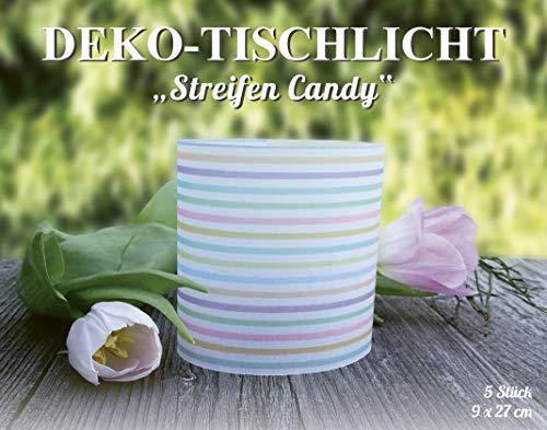MarpaJansen 486.180-00 Deco Transparant papier strepen Candy Tafellampen, papier, kleurrijk, 9 x 27 cm