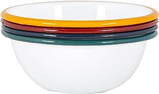 Argon Tableware Blanc Bols émail - Acier Camping en Plein air Arts de la Table - Vaisselle 16cm - 4 Couleurs