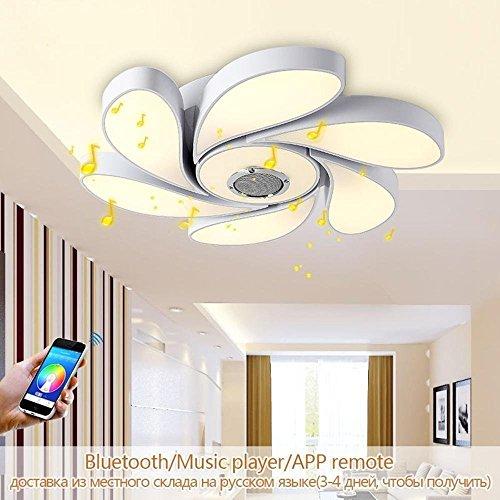 Moderne LED plafondlamp Smart home Bluetooth Speaker Muziek Intelligentie Mobiele app afstandsbediening Dimbaar 72W RGB D56cm [Energiebesparende Klasse A]