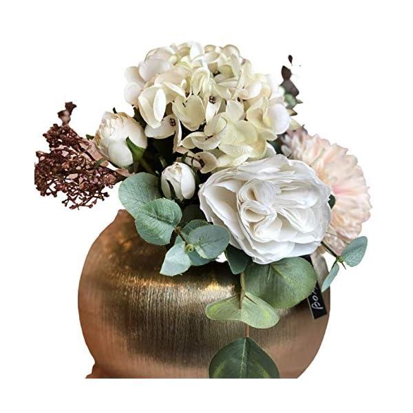 BOTANIC DESSIGN Ramo Flores Artificial JARRÓN Decorativo Incluido Arreglo Floral Artificial con Hortensia y Rosas Color…