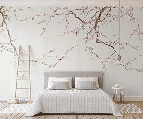 Papel Pintado 3D Rama De Ciruela Rosa Simple Fotomurales Pared Dormitorio Papel Pintado Fotográfico Mural