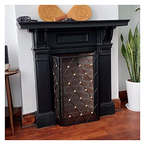 Spark Guard Home Folding Fire Panel, Iron Mesh Spark Flame Barrier Screen Fence for Protect Babies and Pets Safe, Durable Foldable Fireplace Cover