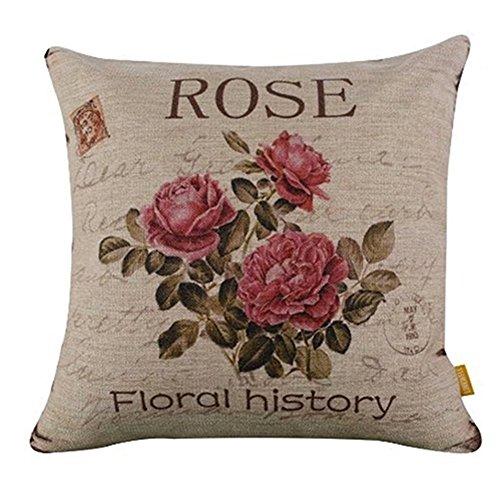 NEYOANN Flor Vintage/Decoracion de Lino cojin de Almohada Funda de cojin Sofa hogar Decoracion (3 Rosas)