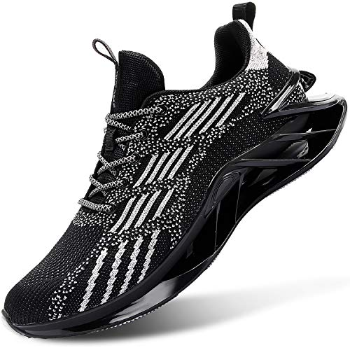 L-RUN Men's Running Sneakers Shoes Outdoor Walking Shoes Casual Black 10.5 M US