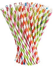 Vicloon Paja de Papel, 100PCS Pajita Papel, Pajitas Fiesta Papel Utilizado para Cumpleaños, Bodas, Navidad, Pajitas Biodegradables con 5 Colores, 100PCS