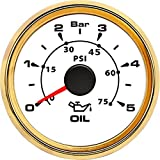 GTRHD Mètre 0-5Bar jauge de Pression 52 mm pointeur Presse à Huile Bar 0-75 PSI Huile pressiomètres LCD for Auto Camion Bateau Yacht RV Presse à Huile Aiguille (Color : 802 00027)