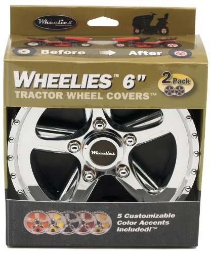 Good Vibrations Wheelies - Riding Lawn Mower Tractor Wheel Covers - Snap Fit to The Rim - 6 inch Diameter (Silver)
