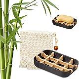Shengruili Bandeja de Jabón para Ducha,Caja de Jabón,Jabonera de Madera Natural Bambú,Caja de Jabón Madera Portátil para Baño Viaje Cocina,Jabonera de Bambú,Jaboneras de Madera Natural (2)