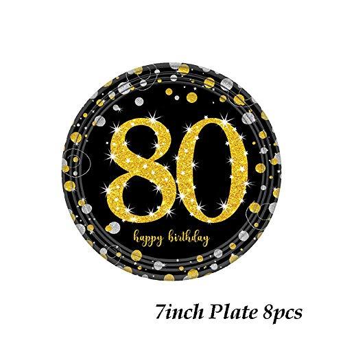 Party-plaat voor oude verjaardag, voor volwassenen, wegwerp van papier, met goudkleurige glazen en glitter, voor bruiloft, babyparty, douchedecoratie, 1 stuk, kleur: 7 inch, 8 stuks B