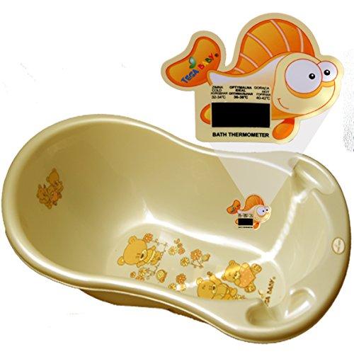 Baby Badewanne 4 Farben bitte auswählen super Design mit Thermometer 29 x 86 x 46 cm von DIES&DAS (Beige)