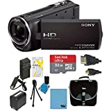 Sony HDRCX405 Handycam Camcorder Bundle with Micro SD Card, Battery and Accessories (10 Items)