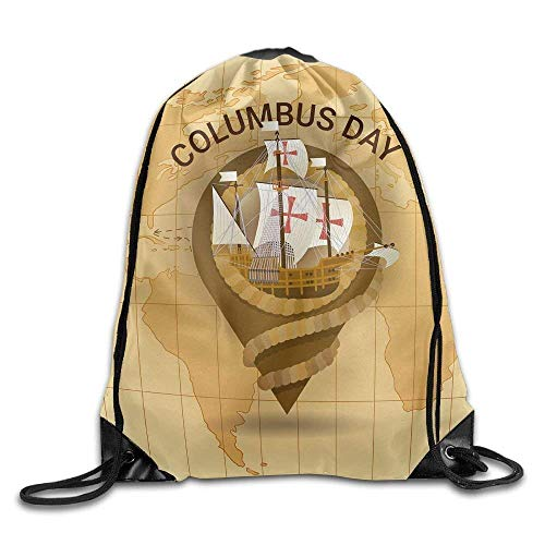 Needyo Rucksack mit Kordelzug Happy Columbus Day America Discover Holiday Drawstring Backpack Bag Sackpack Cinch Tote Sports String Backpack Gym Bags for Gym or Traveling