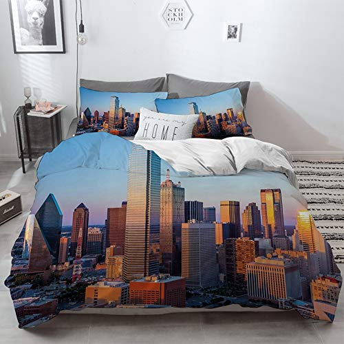 3 Piece Duvet Cover Set No Wrinkle Ultra Soft Bedding Set,United States,Dallas Texas City with Blue Sky at Sunset Metropolitan Finance Urban Cent,2 pillowcase 50 x 75cm 1 Pc Bed sheet 230 x 220cm