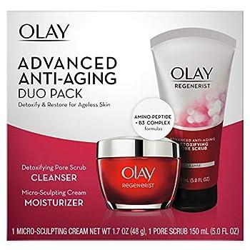 Olay Regenerist Advanced Anti-Aging Pore Scrub Cleanser  5.0 Oz  and Micro-Sculpting Face Moisturizer Cream  1.7 Oz  Skin Care Gift Set