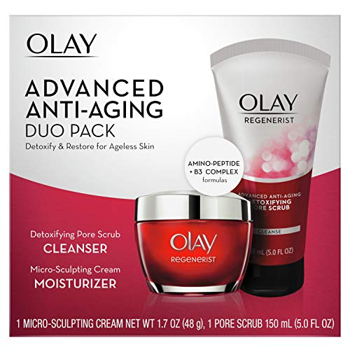Olay Advanced Anti-Aging Duo Pack: 5-Oz Olay Regenerist Advanced Anti-Aging Pore Scrub Cleanser & 1.7-Oz Micro-Sculpting Face Moisturizer Cream $16.85 + Free S&H w/ Prime or $25+