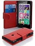 Cadorabo Hülle für Nokia Lumia 630/635 - Hülle in Inferno ROT – Handyhülle mit Kartenfach aus struktriertem Kunstleder - Case Cover Schutzhülle Etui Tasche Book Klapp Style