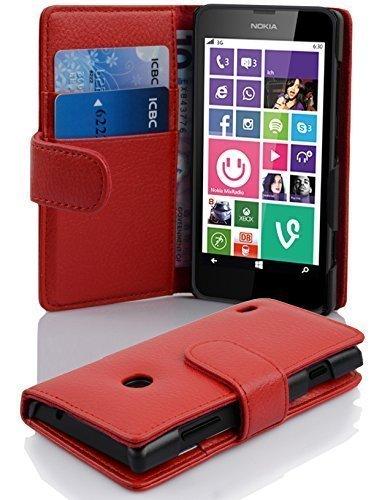 Cadorabo Hülle für Nokia Lumia 630/635 - Hülle in Inferno ROT – Handyhülle mit Kartenfach aus struktriertem Kunstleder - Hülle Cover Schutzhülle Etui Tasche Book Klapp Style