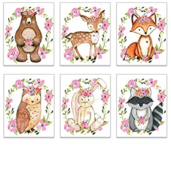 Girl Nursery Decor - Woodland Nursery Decor - Baby Girl Room - Kids Wall Art - Animal Pictures Decorations - Cute Posters - Boho Floral Wreath Forest Animals Theme - Set of 6-8x10 UNFRAMED