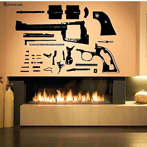 sanzangtang Revolver wapen pistool ontleding demontage patroon vinyl muurstickers huisdecoratie kamer muur stickers verwijderbare muurschildering