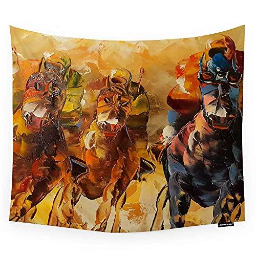 Tapiz de pared para colgar en la pared, pintura al óleo abstracta de caballos, habitación, tapiz decorativo de pared, para hombres, mujeres, niñas, niños, poliéster, 60 x 51 pulgadas