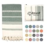 BERGAMA Turkish Beach Towel | 100% Cotton, Prewashed, 38 x 71 Inches | Quick Dry, Sand Free, Lightweight | Large Bath Towel for Beach, Pool, Bathroom, SPA, Gym, Picnic and Yoga Blanket (Dark Green)