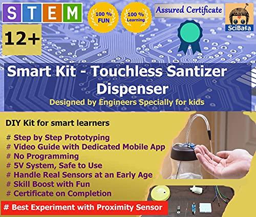 SciBaba Smart Kit - Touchless Hand Sanitiser Dispenser- Learn The Basics of sensors with Experiment | DIY Science kit Toys for Boys and Girls Aged 11 Years + | Birthday Gift Set for Girls & Boys