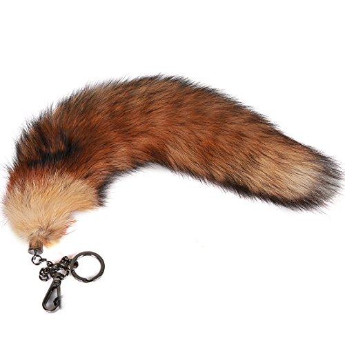 URSFUR Echte Rotfuchs Schwanz Naturfarben Fashion Schwanz Zubehör Taschenanhänger ca.38-42cm mit Graue Kette