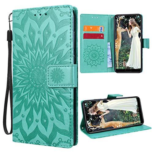 VemMore für Huawei P20 Pro Hülle Handyhülle Schutzhülle Leder PU Wallet Flip Case Bumper Lederhülle Ledertasche Blumen Muster Klapphülle Klappbar Magnetisch Dünn Silikon Sonnenblume - Grün