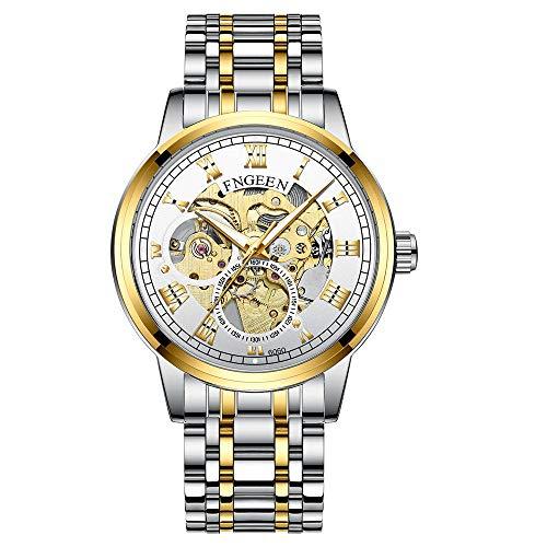 Reloj de Pulsera mecánico automático Elegante Esfera Minimalista Casual Clásico para Hombre Esqueleto Impermeable Luminoso -C