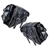 Set Black Left Right PU Leather Solo Swing Arm Saddlebag Tool Bag with Pannier Storage Compatible with Harley Sportster XL883 XL1200