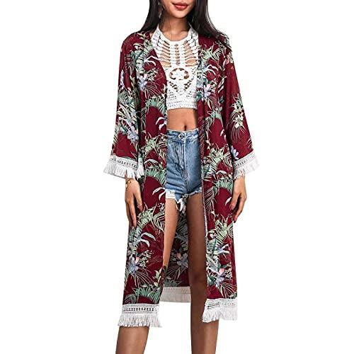 XUANYA Blusa Bikini,Mujeres Verano Largo Kimono Enthic Hojas Impresión Borla Empalme Bikini Smock Casual Beachwear Playa Blusas Loose Cardigan Abrigo Regalo, Vino Tinto, M