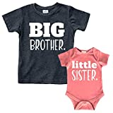 Big Brother Little Sister Outfits Shirt Sibling Shirts Matching Baby Newborn Girl Outfit (Charcoal Black/Mauve, Kid (4Y) / Baby (1-3M))