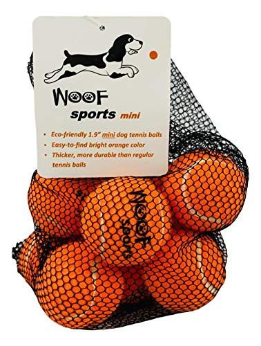 Woof Sports SMALL Tennis Balls for Dogs (1.9) - 12 Orange Balls, 25% Thicker than Regular Tennis Balls, Includes Mesh Carrying Bag. Mini / Small Tennis Balls Perfect for Puppies and Smaller Dogs