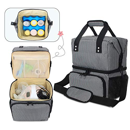 Luxja Breast Pump Bag with 2 Compartments for Breast Pump and Cooler Bag, Leakproof Pumping Bag for Working Mothers (Fits Most Major Breast Pump), Stripe