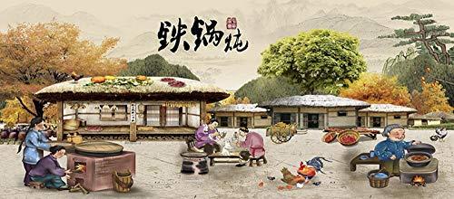 Büro Bauernhausart Wok Eintopf chinesisches Essen Restaurant Retro Poster 3D moderne Wandtapete Bild Hintergrund-4