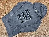 <全国一律>UNIQLOユニクロ×KITSONキットソン メンズ コラボ ビッグロゴプリント ストレッチ プルオーバーパーカー L グレー×黒