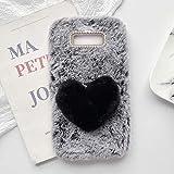 YHY Plush Heart Shaped Style Elegante Funda para Teléfono Móvil para Samsung Galaxy S8 Plus TPU Silicone Anti Fall Warm Cover Gris Oscuro