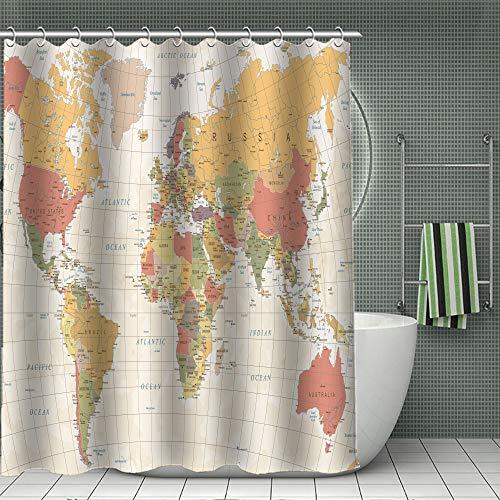 Fullife Weltkarte Muster Duschvorhang Wasserdicht Anti-Schimmel Anti-Bakteriell Polyester Stoff Badvorhang Waschbar Bad Vorhang mit Haken für Badzimmer 180 * 200cm