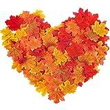 HAKACC Künstliche Herbst Ahornblätter, 300 Stück Herbstlaub Kunstblätter Herbst Dekoblätter für Halloween, Thanksgiving Day, Hochzeit und Weihnachten Deko
