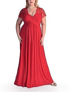Plus Size V Neck Lace Dress Prom Maxi Dress Gown