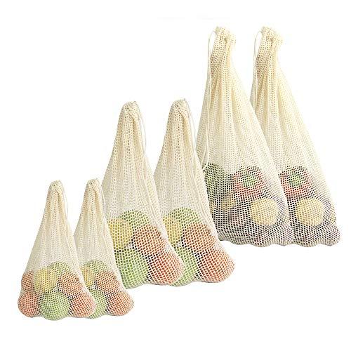 Gemüsebeutel aus Bio-Baumwolle| Wiederverwendbare Einkaufstüten | Umweltfreundliche Produkttaschen | Mesh Cotton Drawstring Bag | 3 Größen | M&W