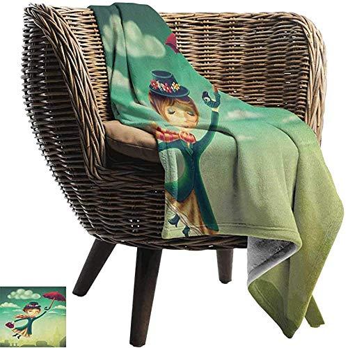 Ducan Lincoln Blanket Pool Solar Flanell Fleece Decke Fantasy,Cartoon Fairy Tale Nanny Mit Magischem Regenschirm Und Tasche Fliegt Über London Skyline Extra Soft Skin Fabric,127x102 cm