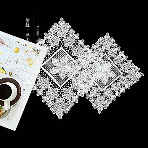 Jstoo Manteles De Mesa Simple Encaje Hueco Blanco Malla Cuadrada Tableta Mantel Toalla Multifuncional-Serie De Encaje - Amarillo Claro_Cuadrado 35 * 35 Cm (2 Piezas)