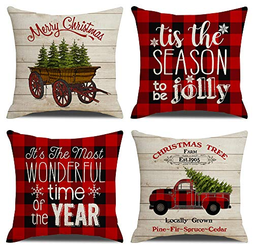 KACOPOL Christmas Red Buffalo Plaids Vintage Wood Farmhouse Truck Xmas Quotes Pillow Covers Throw Pillow Case Cushion Cover 18' X 18' Set of 4 Christmas Decorations (Red Black Plaids)
