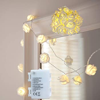 echosari [Built in Auto Timer] 20LED Warm White Rose Flower Fairy String Lights 7.5 Feet Clear Cable Battery Powered for Valentine's, Wedding, Bedroom, Indoor Decoration